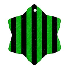 Stripes1 Black Marble & Green Colored Pencil Snowflake Ornament (two Sides)
