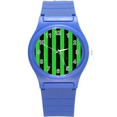 Stripes1 Black Marble & Green Colored Pencil Round Plastic Sport Watch (s)