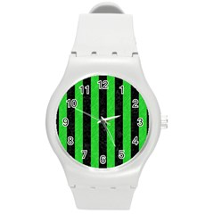 Stripes1 Black Marble & Green Colored Pencil Round Plastic Sport Watch (m)