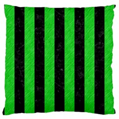 Stripes1 Black Marble & Green Colored Pencil Large Cushion Case (one Side)