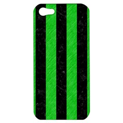 Stripes1 Black Marble & Green Colored Pencil Apple Iphone 5 Hardshell Case