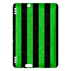 Stripes1 Black Marble & Green Colored Pencil Kindle Fire Hdx Hardshell Case