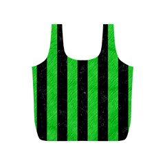 Stripes1 Black Marble & Green Colored Pencil Full Print Recycle Bags (s)