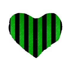 Stripes1 Black Marble & Green Colored Pencil Standard 16  Premium Flano Heart Shape Cushions