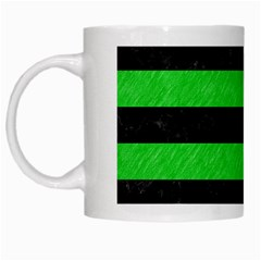 Stripes2 Black Marble & Green Colored Pencil White Mugs
