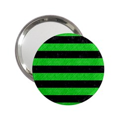 Stripes2 Black Marble & Green Colored Pencil 2 25  Handbag Mirrors