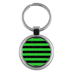 Stripes2 Black Marble & Green Colored Pencil Key Chains (round)