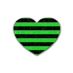 Stripes2 Black Marble & Green Colored Pencil Heart Coaster (4 Pack)