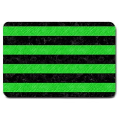 Stripes2 Black Marble & Green Colored Pencil Large Doormat