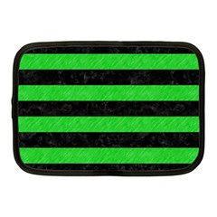 Stripes2 Black Marble & Green Colored Pencil Netbook Case (medium)