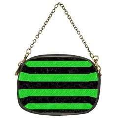 Stripes2 Black Marble & Green Colored Pencil Chain Purses (one Side)