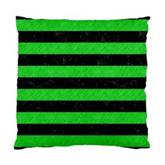 Stripes2 Black Marble & Green Colored Pencil Standard Cushion Case (two Sides)