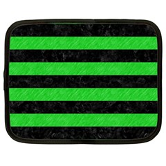 Stripes2 Black Marble & Green Colored Pencil Netbook Case (xxl)