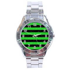 Stripes2 Black Marble & Green Colored Pencil Stainless Steel Analogue Watch