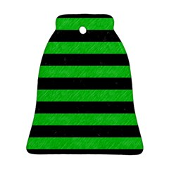 Stripes2 Black Marble & Green Colored Pencil Ornament (bell)