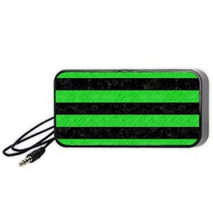 Stripes2 Black Marble & Green Colored Pencil Portable Speaker