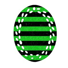 Stripes2 Black Marble & Green Colored Pencil Oval Filigree Ornament (two Sides)