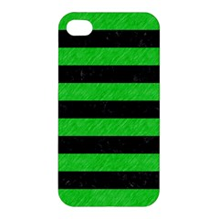Stripes2 Black Marble & Green Colored Pencil Apple Iphone 4/4s Hardshell Case