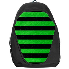 Stripes2 Black Marble & Green Colored Pencil Backpack Bag