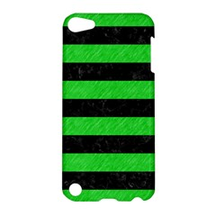 Stripes2 Black Marble & Green Colored Pencil Apple Ipod Touch 5 Hardshell Case