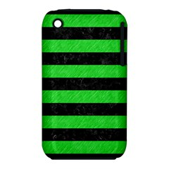 Stripes2 Black Marble & Green Colored Pencil Iphone 3s/3gs