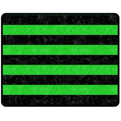 Stripes2 Black Marble & Green Colored Pencil Double Sided Fleece Blanket (medium)