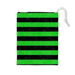 Stripes2 Black Marble & Green Colored Pencil Drawstring Pouches (large)