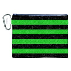 Stripes2 Black Marble & Green Colored Pencil Canvas Cosmetic Bag (xxl)