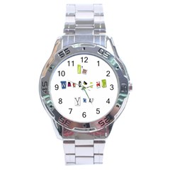 I Am Watching You Stainless Steel Analogue Watch