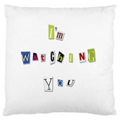 I Am Watching You Large Flano Cushion Case (two Sides)