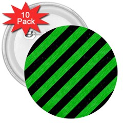 Stripes3 Black Marble & Green Colored Pencil 3  Buttons (10 Pack)