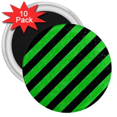 Stripes3 Black Marble & Green Colored Pencil 3  Magnets (10 Pack)