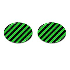 Stripes3 Black Marble & Green Colored Pencil Cufflinks (oval)