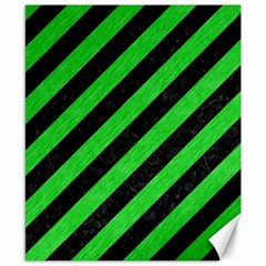 Stripes3 Black Marble & Green Colored Pencil Canvas 8  X 10