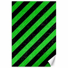 Stripes3 Black Marble & Green Colored Pencil Canvas 20  X 30