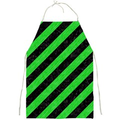 Stripes3 Black Marble & Green Colored Pencil Full Print Aprons