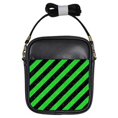 Stripes3 Black Marble & Green Colored Pencil Girls Sling Bags