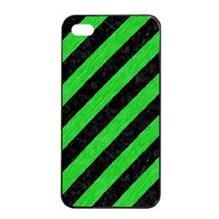 Stripes3 Black Marble & Green Colored Pencil Apple Iphone 4/4s Seamless Case (black)