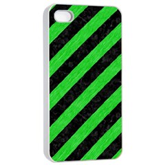 Stripes3 Black Marble & Green Colored Pencil Apple Iphone 4/4s Seamless Case (white)