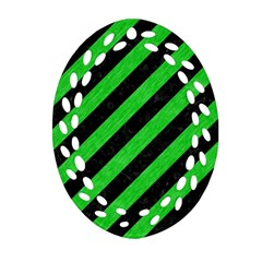 Stripes3 Black Marble & Green Colored Pencil Oval Filigree Ornament (two Sides)