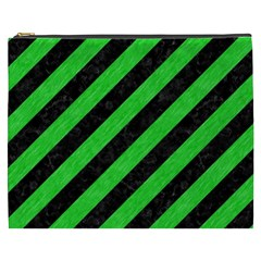 Stripes3 Black Marble & Green Colored Pencil Cosmetic Bag (xxxl)