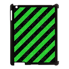 Stripes3 Black Marble & Green Colored Pencil Apple Ipad 3/4 Case (black)