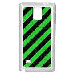 Stripes3 Black Marble & Green Colored Pencil Samsung Galaxy Note 4 Case (white)