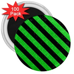 Stripes3 Black Marble & Green Colored Pencil (r) 3  Magnets (100 Pack)