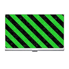 Stripes3 Black Marble & Green Colored Pencil (r) Business Card Holders