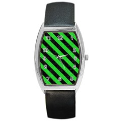 Stripes3 Black Marble & Green Colored Pencil (r) Barrel Style Metal Watch