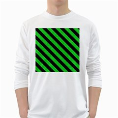 Stripes3 Black Marble & Green Colored Pencil (r) White Long Sleeve T Shirts