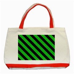 Stripes3 Black Marble & Green Colored Pencil (r) Classic Tote Bag (red)