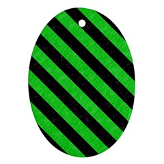 Stripes3 Black Marble & Green Colored Pencil (r) Oval Ornament (two Sides)