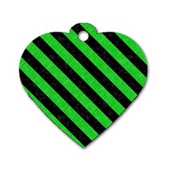 Stripes3 Black Marble & Green Colored Pencil (r) Dog Tag Heart (two Sides)